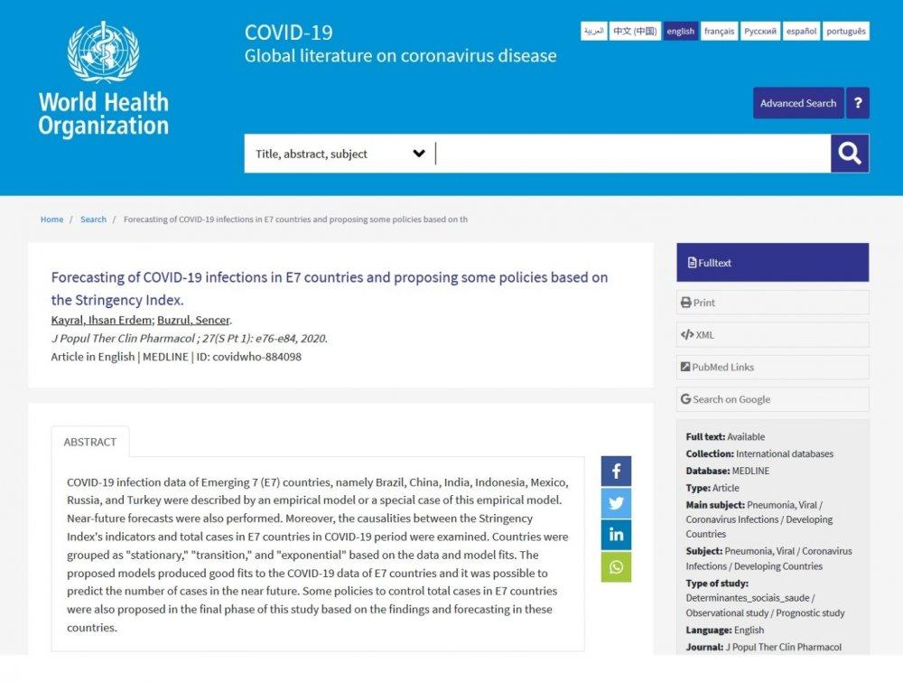 """Öğretim Üyelerimiz Dr. Öğr. Üyesi İhsan Erdem Kayral ve Prof. Dr. Sencer Buzrul'un """"Forecasting of COVID-19 infections in E7 countries and proposing some policies based on the Stringency Index"""" Başlıklı Çalışması Dünya Sağlık Örgütü'nün (DSÖ) Sitesinde Yer Aldı"""