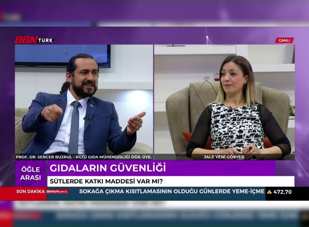 Gıda Mühendisliği Bölümü Öğretim Üyemiz Prof. Dr. Sencer Buzrul BBN Türk Kanalında Canlı Yayın Konuğu Oldu