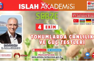 Tarım ve Doğa Bilimleri Fakültesi Dekanımız Prof. Dr. H. Özkan Sivritepe, Islah Akademisi'nde Ders Verdi
